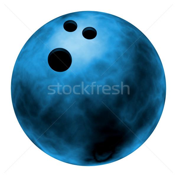 Blau Bowlingkugel realistisch Illustration isoliert weiß Stock foto © fresh_7266481