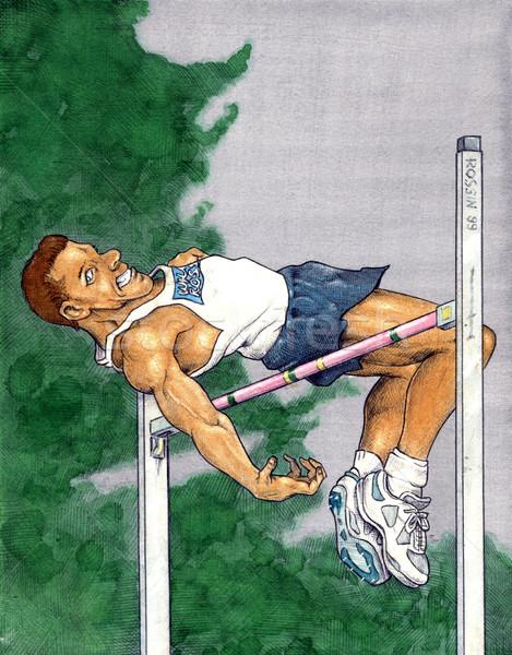 Hoogspringen handgemaakt aquarel illustratie sport lichaam Stockfoto © fresh_7266481