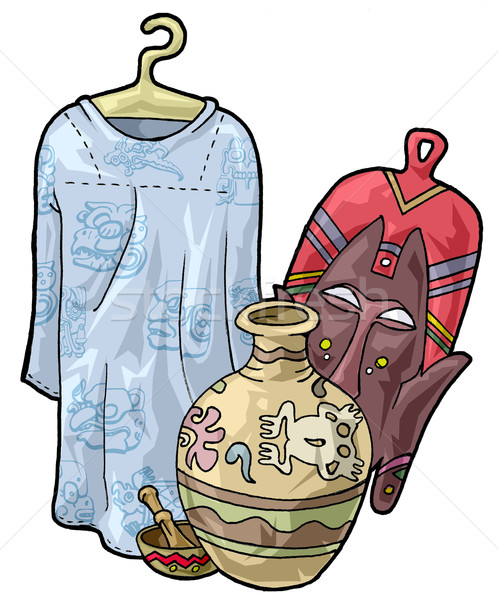 African craftsmanship: a dress, a mask, a bowl and a jar Stock photo © fresh_7266481