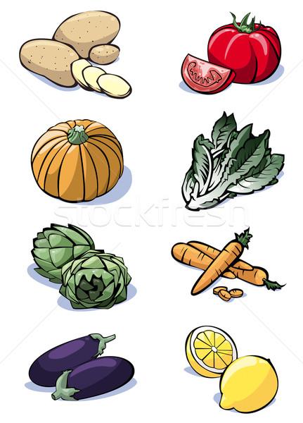 Nyolc zöldségek színek színes illusztráció krumpli Stock fotó © fresh_7266481