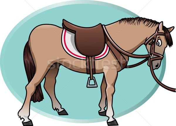 Aranyos ló illusztráció barna nyereg akvamarin Stock fotó © fresh_7266481