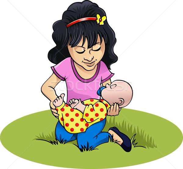Meisje spelen pop cartoon stijl illustratie Stockfoto © fresh_7266481
