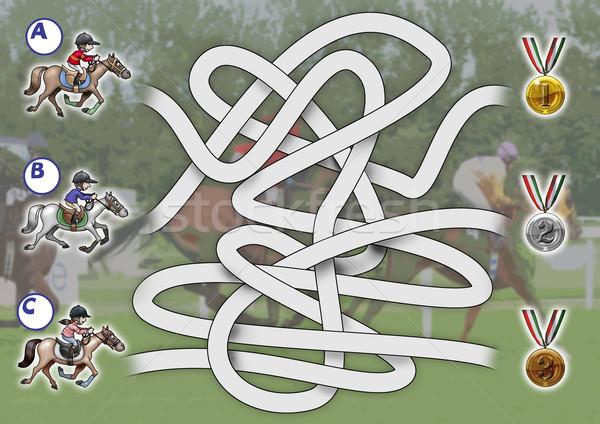 Courses de chevaux jeu trouver sur gagner médaille d'or Photo stock © fresh_7266481