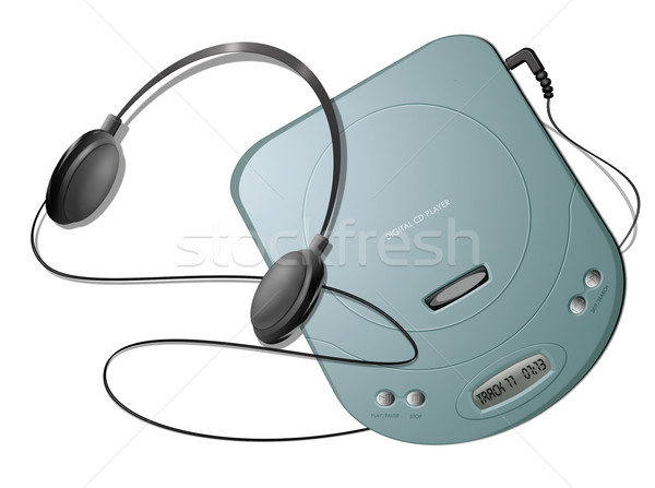 Portable CD player with headphones - Green Stock photo © fresh_7266481