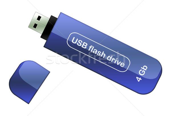 Usb flash drive illustratie realistisch Blauw geïsoleerd Stockfoto © fresh_7266481