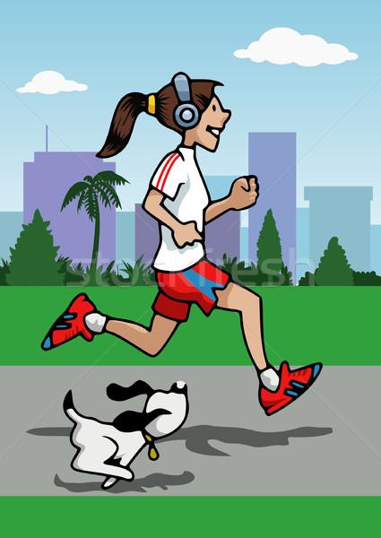 Running girl with headphones and dog Stock photo © fresh_7266481