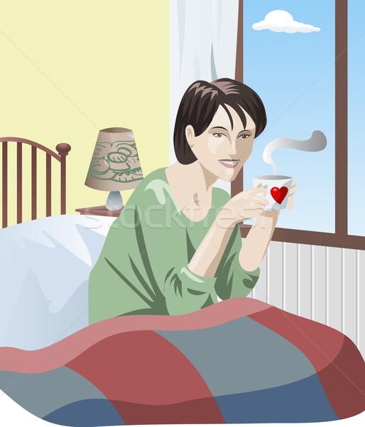 Felice risveglio giovani pretty woman letto Cup Foto d'archivio © fresh_7266481