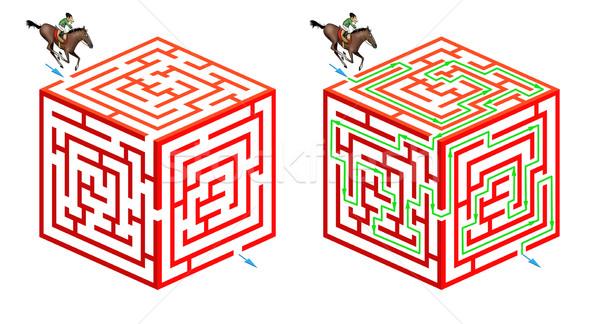 Labirent çözmek orijinal üç boyutlu oyun yardım Stok fotoğraf © fresh_7266481