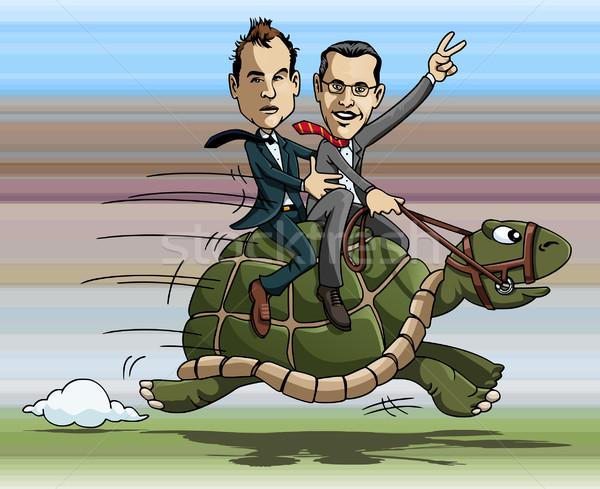 Kaplumbağa binicilik karikatür örnek iki işadamları Stok fotoğraf © fresh_7266481