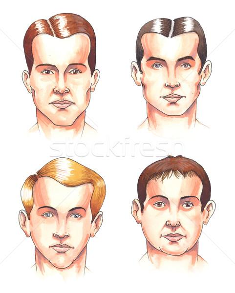 Części ciała twarze akwarela ilustracja zestaw inny Zdjęcia stock © fresh_7266481