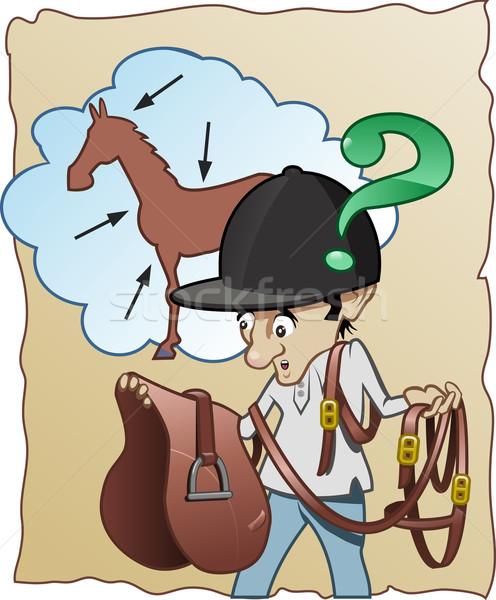 Inexperienced horse-rider Stock photo © fresh_7266481