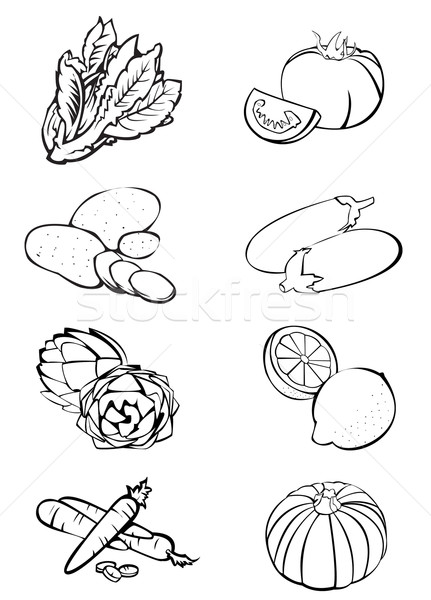 Otto verdura bianco nero illustrazione lattuga pomodori Foto d'archivio © fresh_7266481