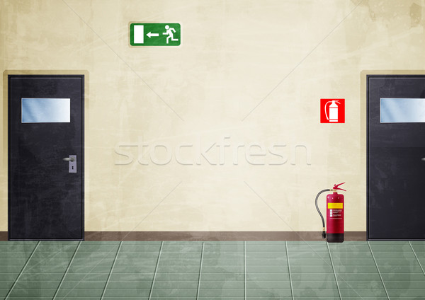 Korridor Grunge Stil Farben Illustration Teil Stock foto © fresh_7266481