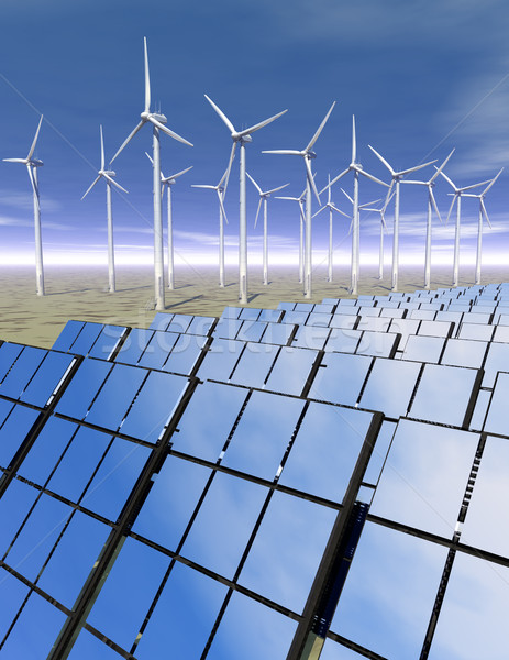 Solar panels and wind turbines in the desert Stock photo © Freshdmedia