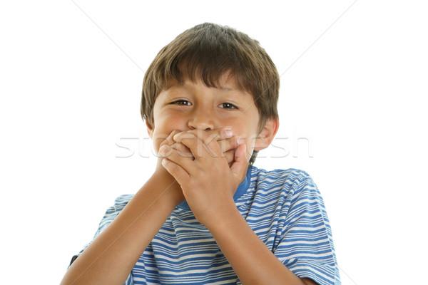 Játékos fiú befogja száját fiatal száj kezek Stock fotó © Freshdmedia