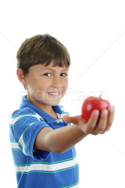 Iskolás fiú tart alma fiatal boldog fiú Stock fotó © Freshdmedia