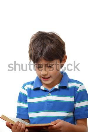 Fiú olvas könyv portré fiatal srác fehér Stock fotó © Freshdmedia