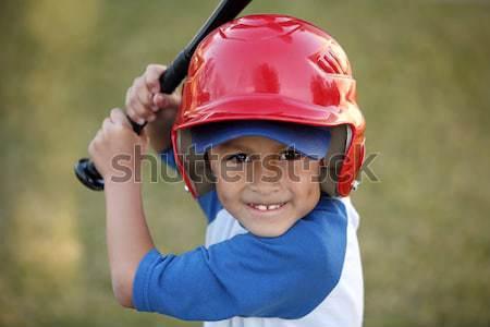 Fiatal srác kesztyű labda boldog mosolyog fiatal Stock fotó © Freshdmedia