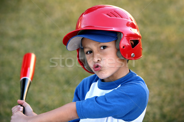 Portrait of Boy with Baseball Bat and Red Helmet Stock photo © Freshdmedia