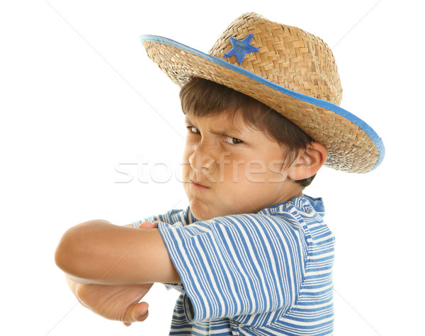 Young mad boy in cowboy hat Stock photo © Freshdmedia