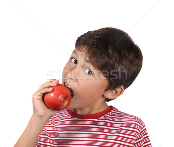 Yeme kırmızı elma beyaz meyve erkek Stok fotoğraf © Freshdmedia