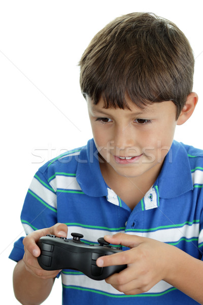 Garçon jouer jeu vidéo favori vidéo Photo stock © Freshdmedia