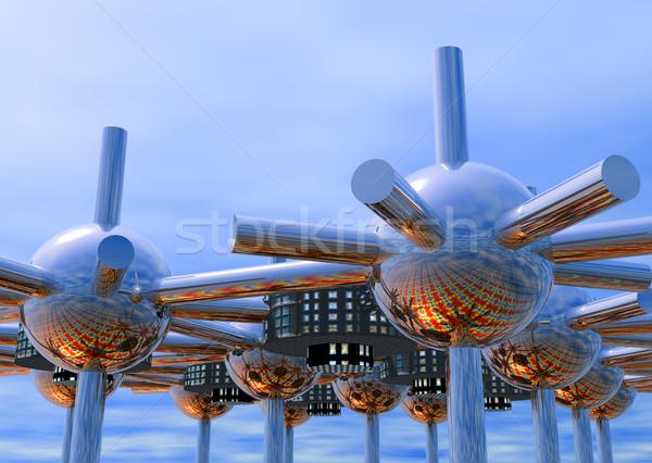 Fütüristik şehir madeni ufuk Cityscape Stok fotoğraf © Freshdmedia