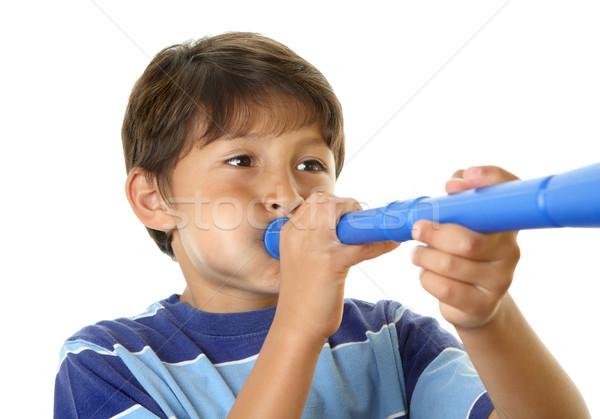 Garçon bleu jouet corne Photo stock © Freshdmedia