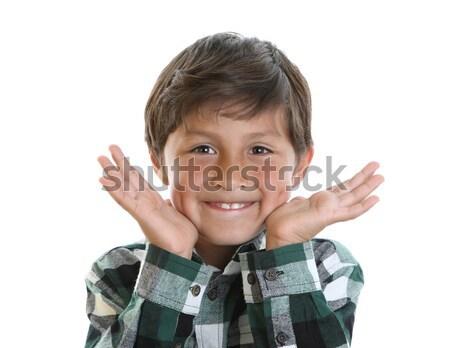 Boldog mosolyog fiatal srác vidám fiú kéz mutat Stock fotó © Freshdmedia