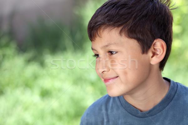 Mosolyog fiatal srác kívül copy space fű boldog Stock fotó © Freshdmedia