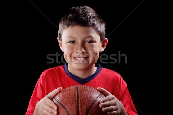 Fiú kosárlabda fekete mosoly sport modell Stock fotó © Freshdmedia