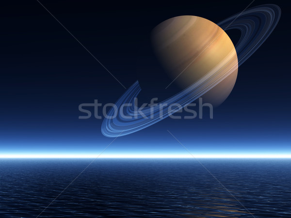 Stock photo: Saturn Rising over Ocean - Landscape Mode