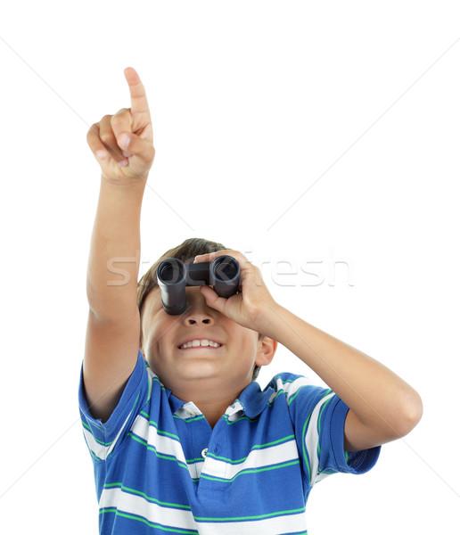 Fiú látcső fiatal srác külső felfelé kék Stock fotó © Freshdmedia
