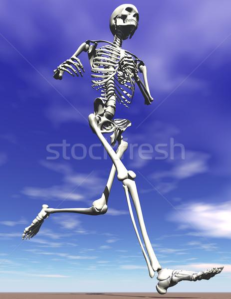 Courir squelette ciel bleu bleu coureur Photo stock © Freshdmedia