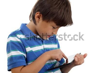 Garçon écran tactile comprimé jouer jeux Photo stock © Freshdmedia