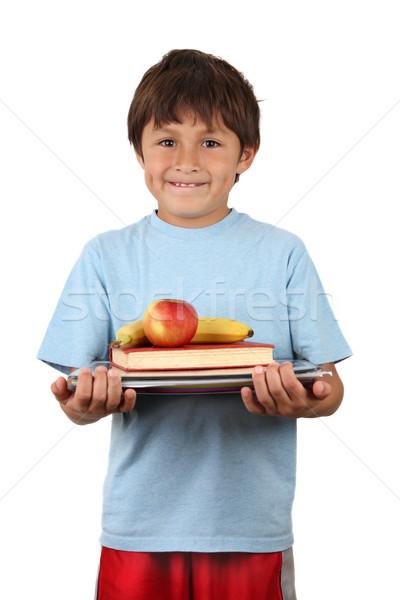 écolier fruits livres jeunes élémentaire âge Photo stock © Freshdmedia