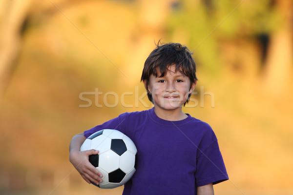 Erkek futbol topu gün batımı portre güzel Stok fotoğraf © Freshdmedia