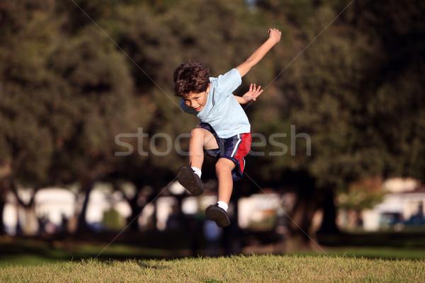 Heureux sautant jouer parc espace de copie Photo stock © Freshdmedia