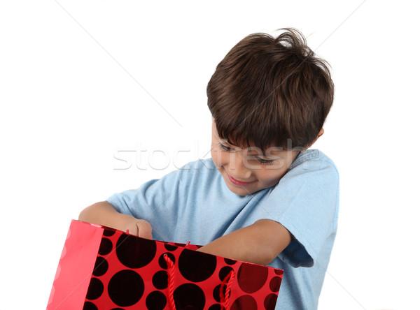 Jeunes cadeau sac souriant garçon Photo stock © Freshdmedia