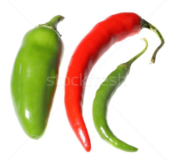Piros zöld forró paprikák izolált fehér Stock fotó © Freshdmedia
