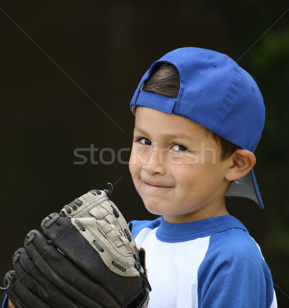 Koyu esmer beysbol erkek mavi beyaz elbise Stok fotoğraf © Freshdmedia