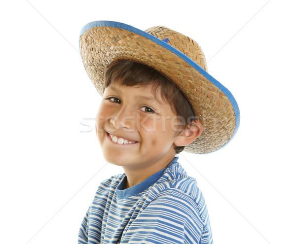 Jeunes chapeau de cowboy heureux souriant Photo stock © Freshdmedia