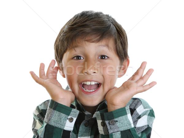 Vidám fiú kockás póló mosolyog kezek arc Stock fotó © Freshdmedia