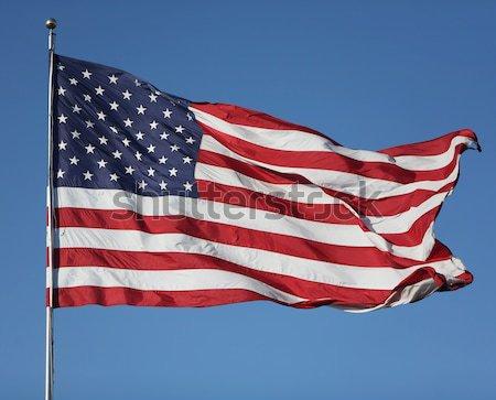 Estados Unidos bandeira vento grande sem nuvens Foto stock © Freshdmedia