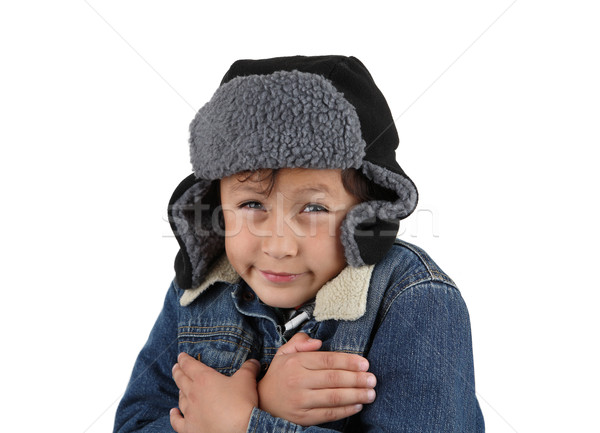 Freezing cold winter boy Stock photo © Freshdmedia
