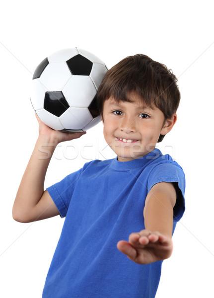 Ballon jeunes up heureux football Photo stock © Freshdmedia