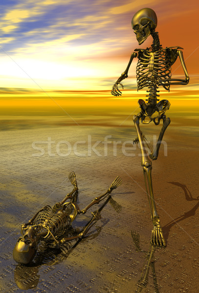 сюрреалистичный скелет бег прошлое закат 3D Сток-фото © Freshdmedia