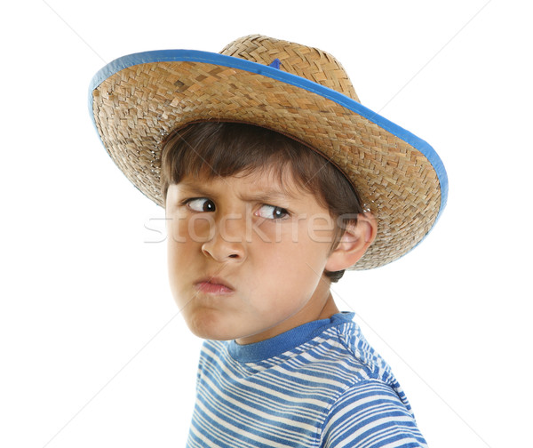 Boy with mad face and cowboy hat Stock photo © Freshdmedia