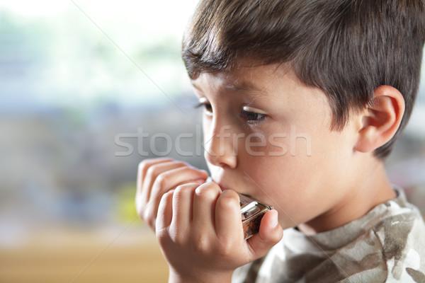Harmonica jeunes musicien chambre peu profond Photo stock © Freshdmedia
