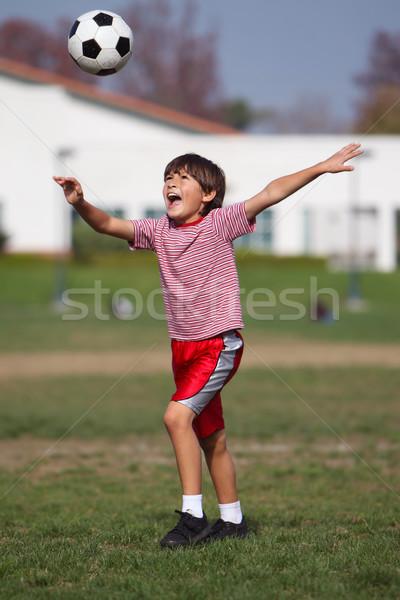 Fiú játszik futball park autentikus tevékenység Stock fotó © Freshdmedia